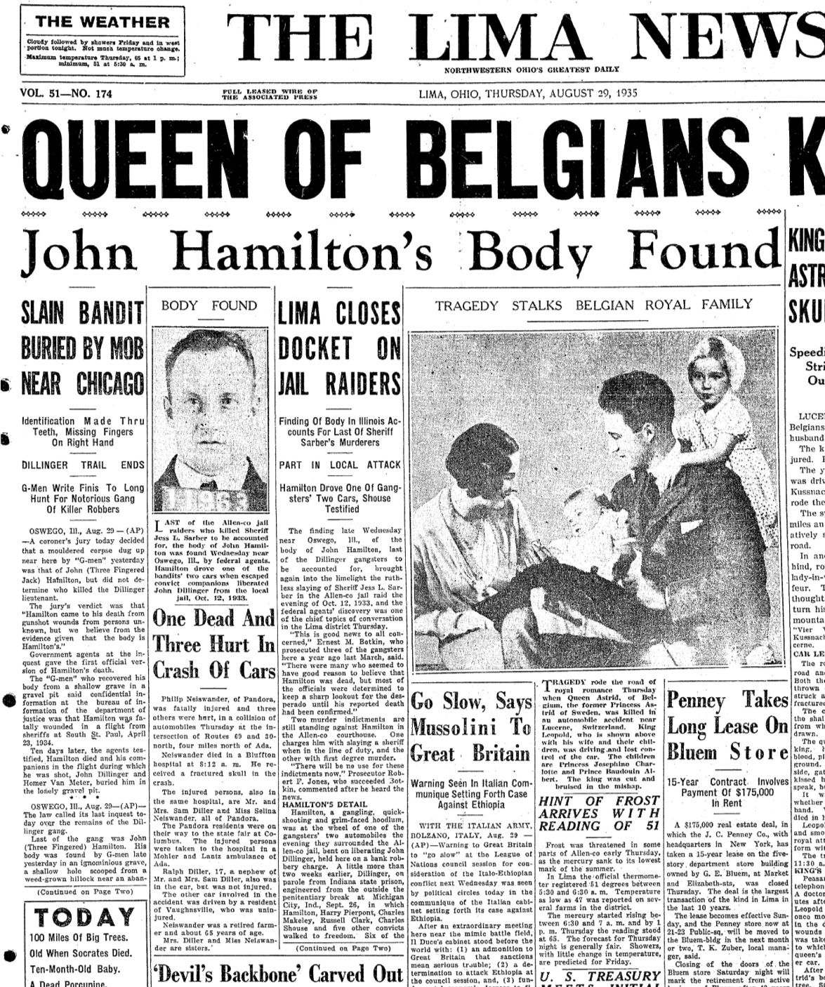 John Hamilton S Body Found From The Lima News Thursday August 29 1935 Volume 51 Number 174 Ancestry Co Newspaper Front Pages Newspaper Newspaper Article