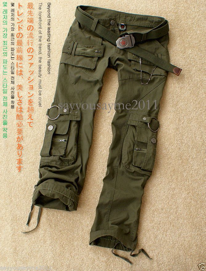 7c8d0c9aeb Ladies Womens Military Army Green Jeans Cargo Combat Pants Leisure ...