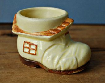Vintage Old Mother Hubbard Boot Shaped Egg Cup Egg Cups