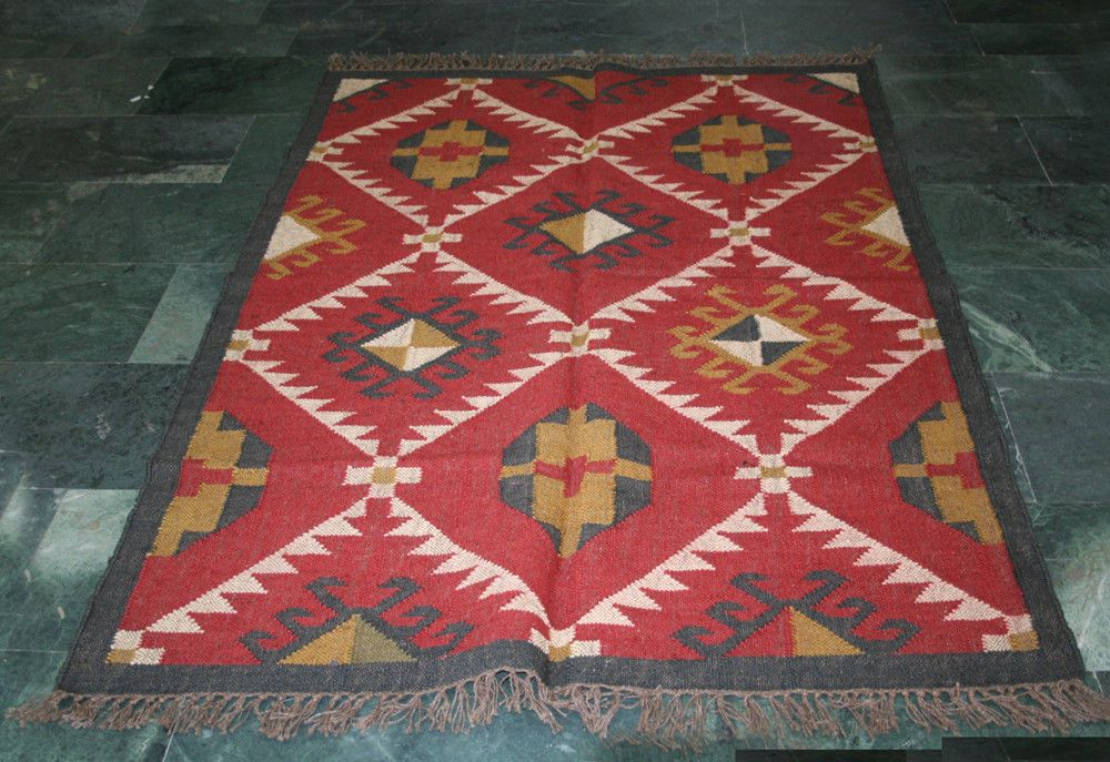 Geometric Turkish Handmade Runner Kilim Rug Area Persian Tribal Diamond