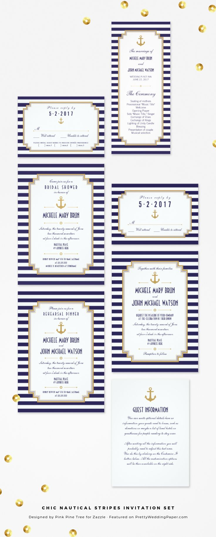 Chic Nautical Stripes Navy Wedding Invitation Collection Designed By