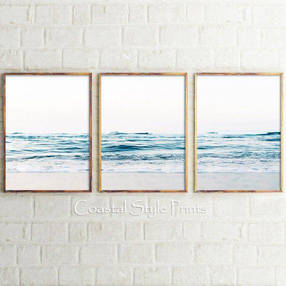 Ocean Waves Set Of 3 Prints Wall Art Print Set Australia Wall Etsy Coastal Prints Ocean Print Wave Poster
