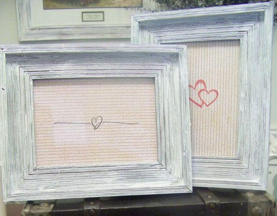 2 Rustic Whitewashed Wood Frames 5x7 By Sugarplumcottage On Etsy