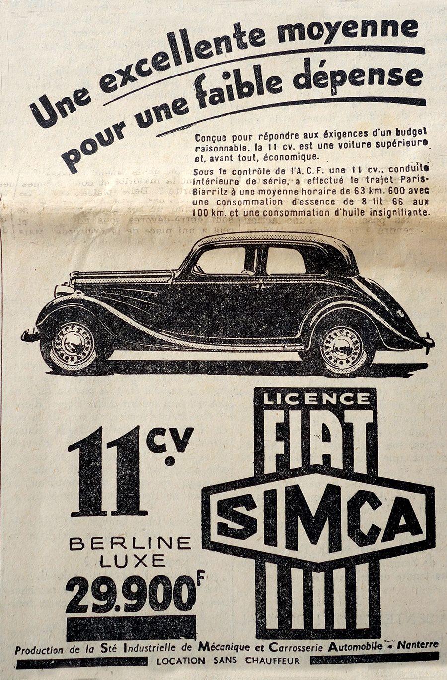 simca fiat advertising journal le petit parisien 1936 car. Black Bedroom Furniture Sets. Home Design Ideas