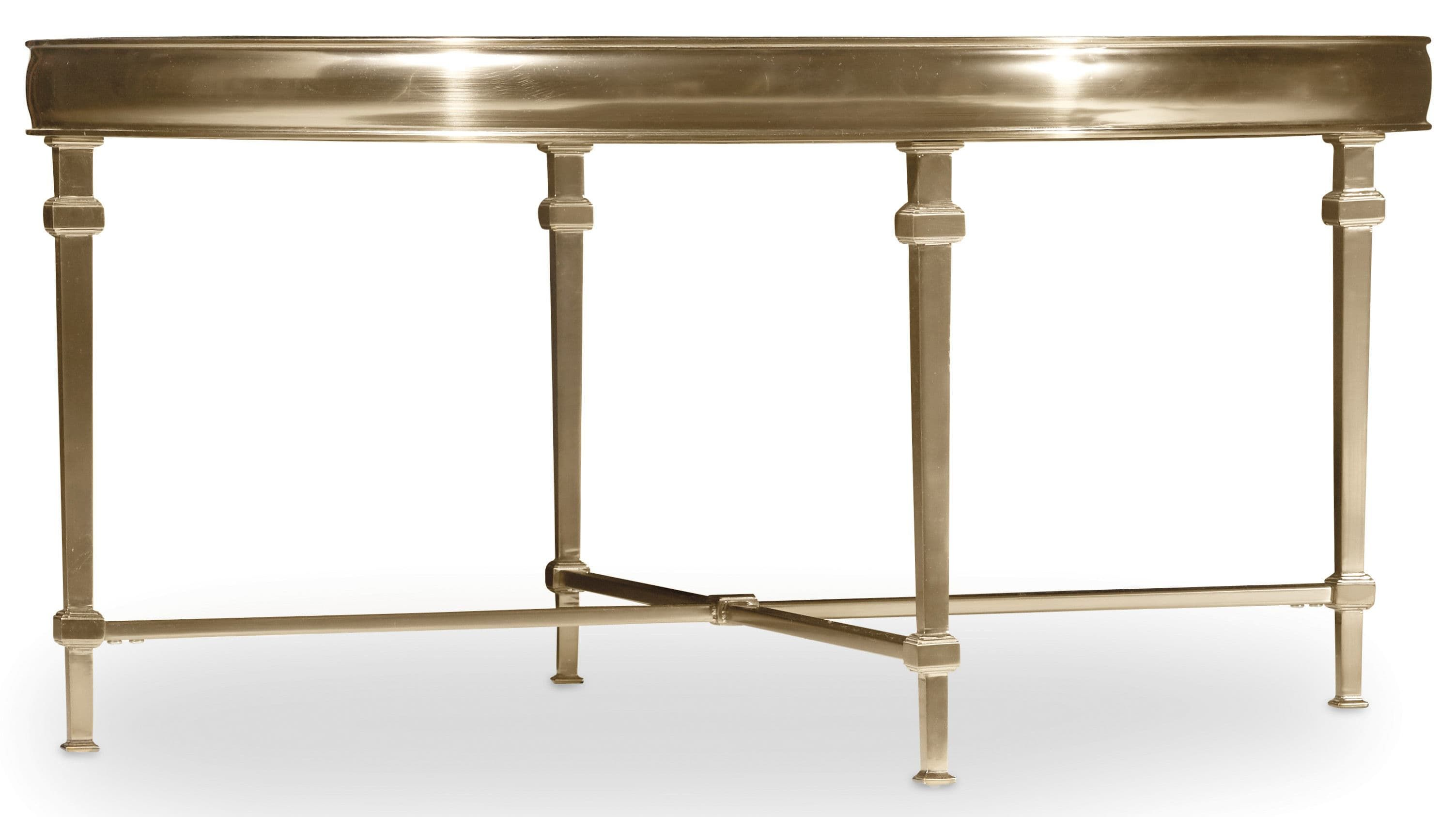 Gold colored metal and glass tops make the Highland Park tables ...