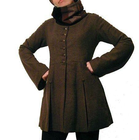 Fall - Winter Brown Tweed Hunting Frock Coat with Goblin Hood
