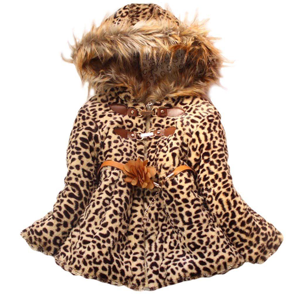 8d2a0ff806a7 Baby Girls Faux Fur Leopard Hoodies Coat Kids Winter Warm Jacket ...