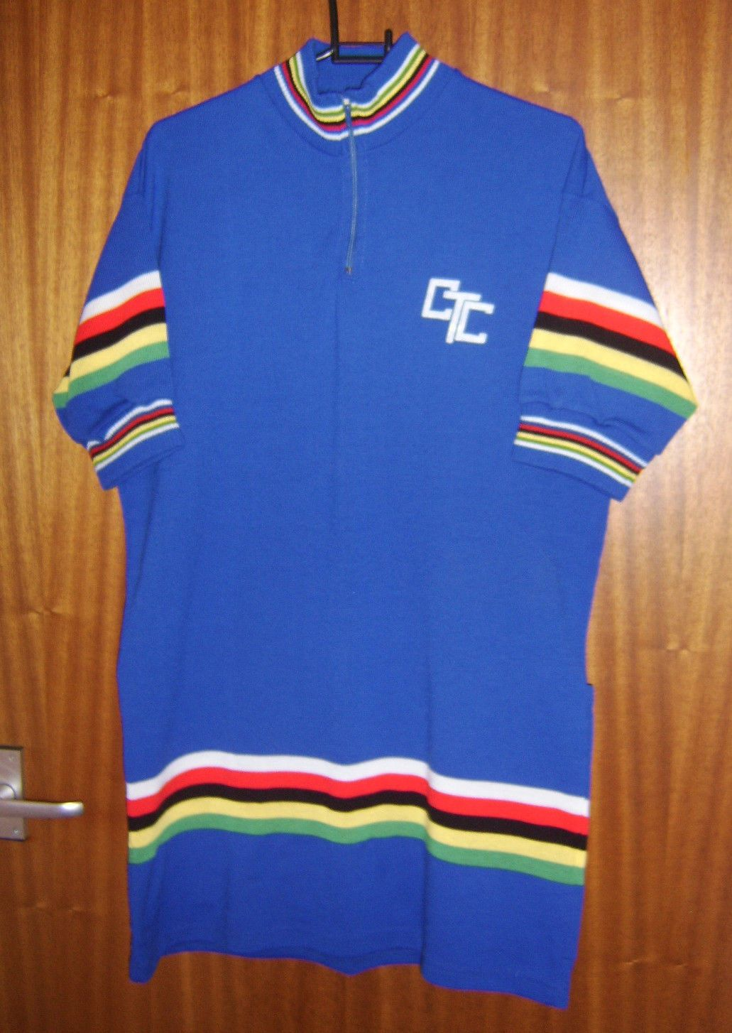 CTC Cycling Jersey Royal Blue With Multicolour Stripes Size 9 M Vintage  1e9beec5c