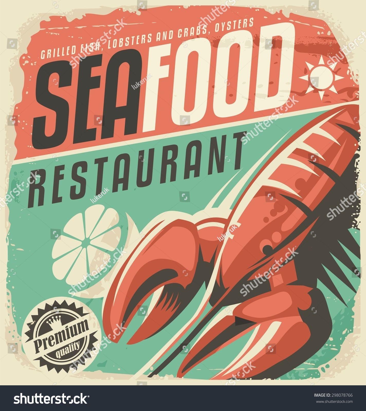 Retro Seafood Restaurant Poster Lobster Lemon Stock Vector (Royalty Free) 298078766