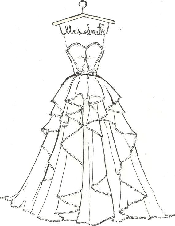 custom wedding dress sketch by drawthedress on etsy 50 00 wedding shower present drawing is everything pinterest zeichnungen zeichnen und