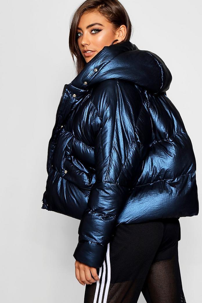 Metallic Hooded Puffer Jacket In 2019 Metallic Puffer