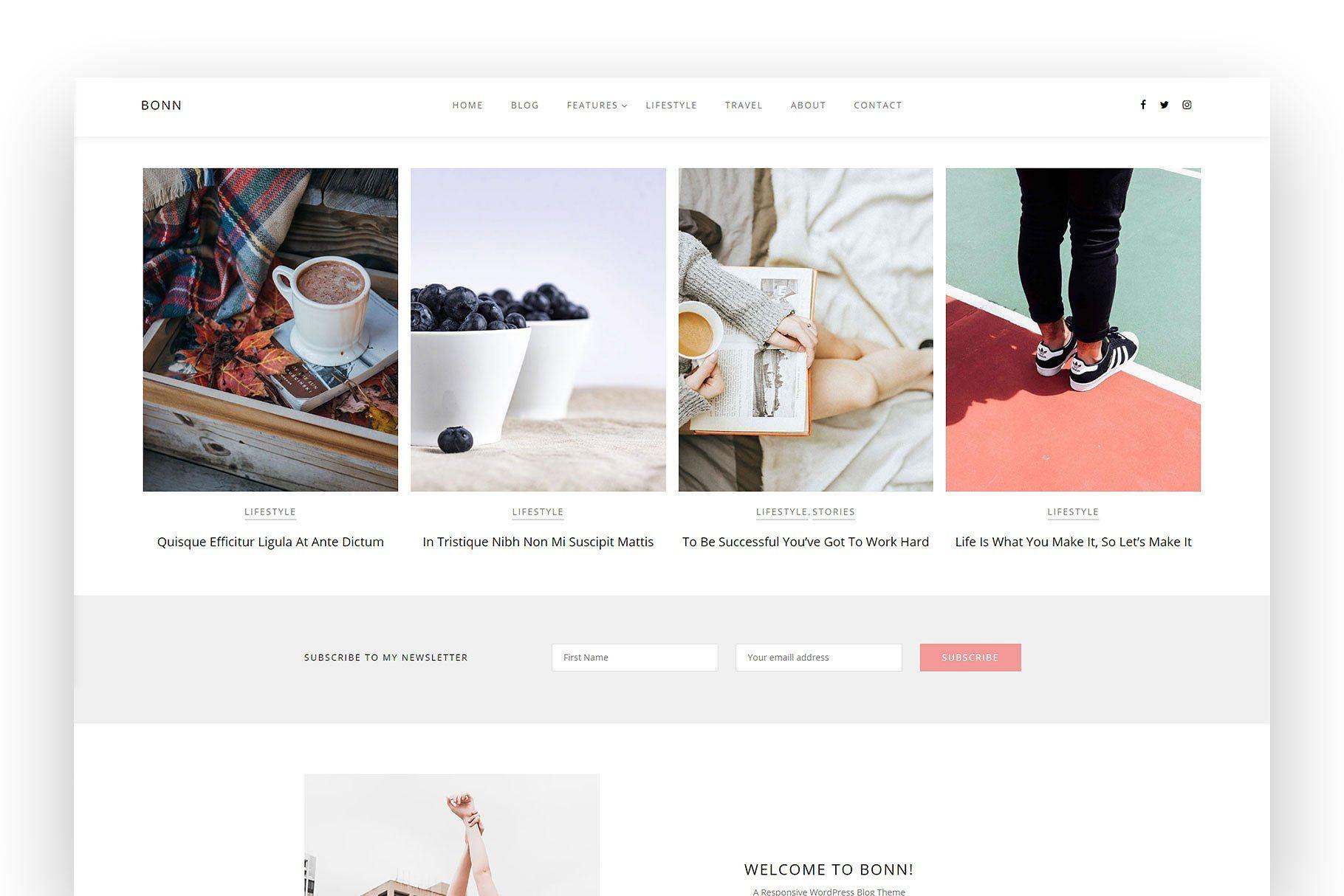 BONN A Modern Stylish Theme Post formats feed footer