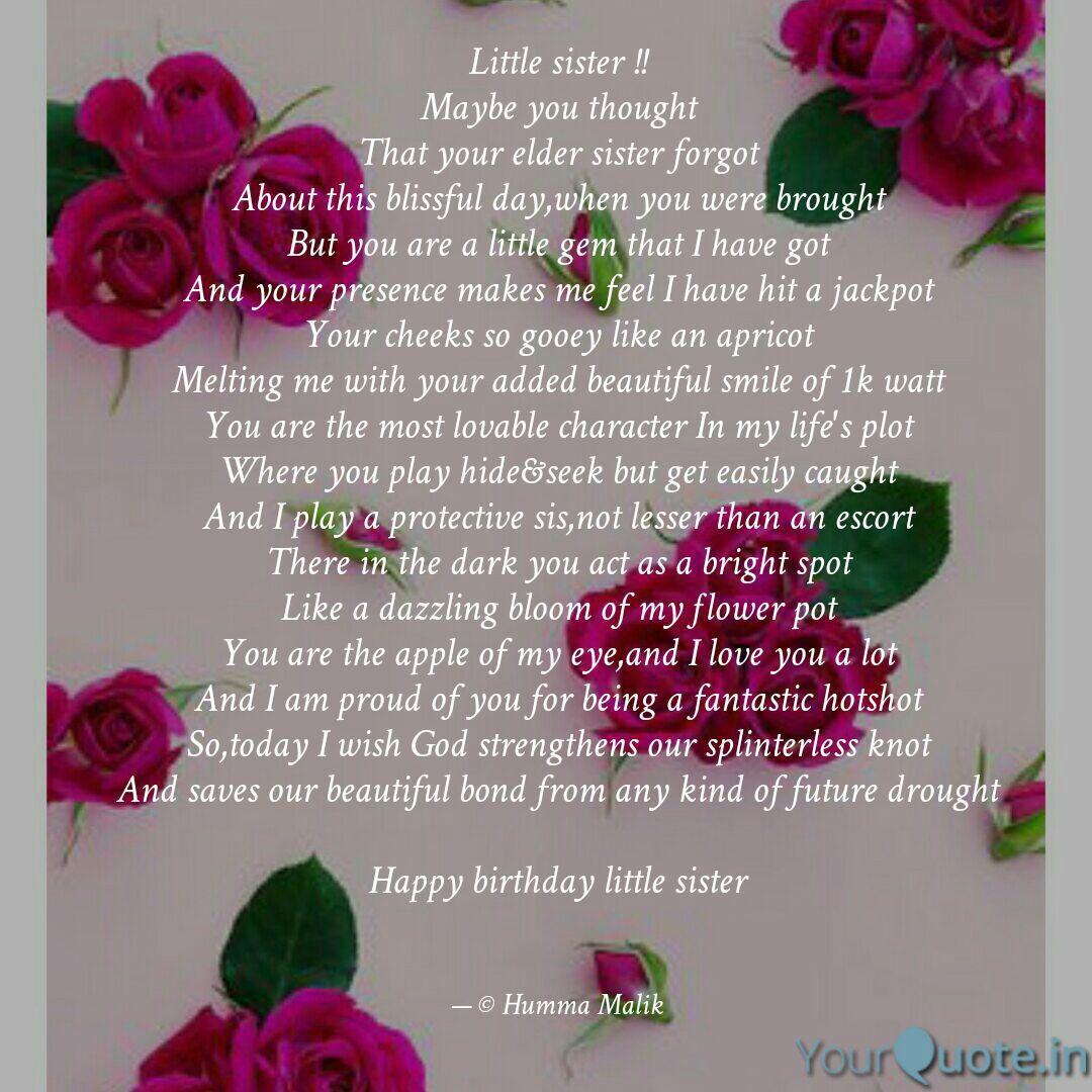 Little sister birthday poem by humMalik   Sister poems ...
