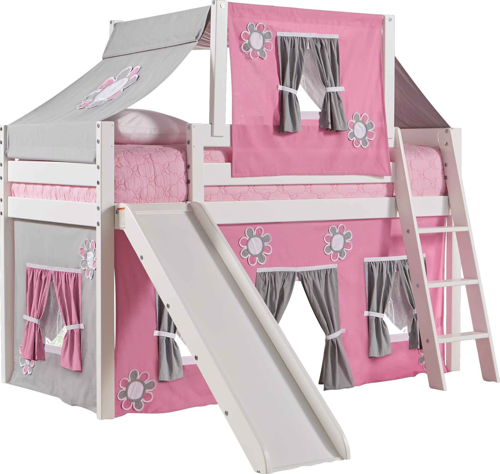 Pink Cottage White Jr Tent Loft Bed With Slide And Top Tent