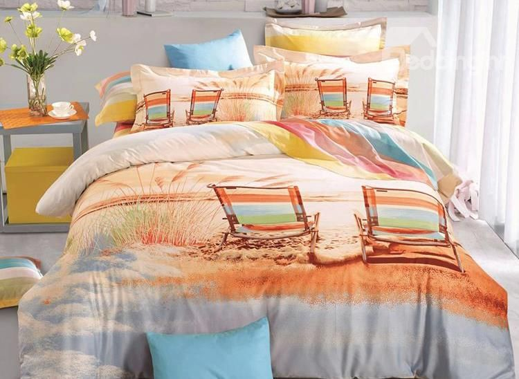 Fall Scenery Print 4-Piece Cotton Duvet Cover Sets #fallscenery