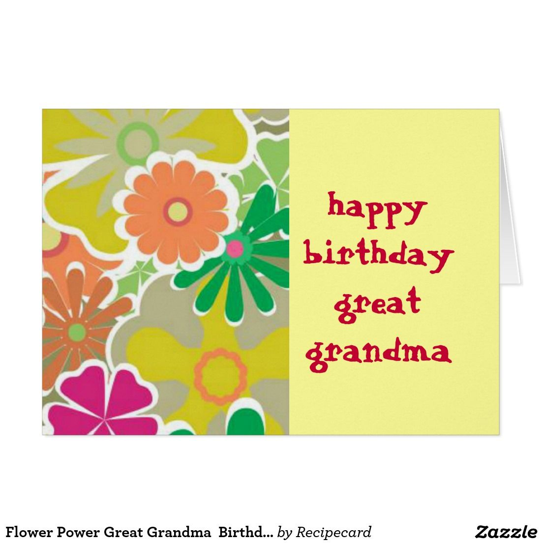 Flower Power Great Grandma Birthday Card Birthdays