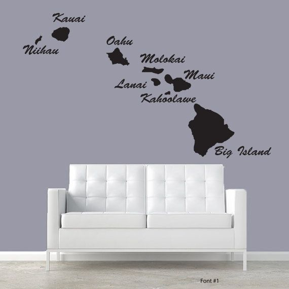 Hawaiian Islands Large Decor Wall Decal Custom Living Room Etsy Large Decor Wall Decals Living Room Bedroom