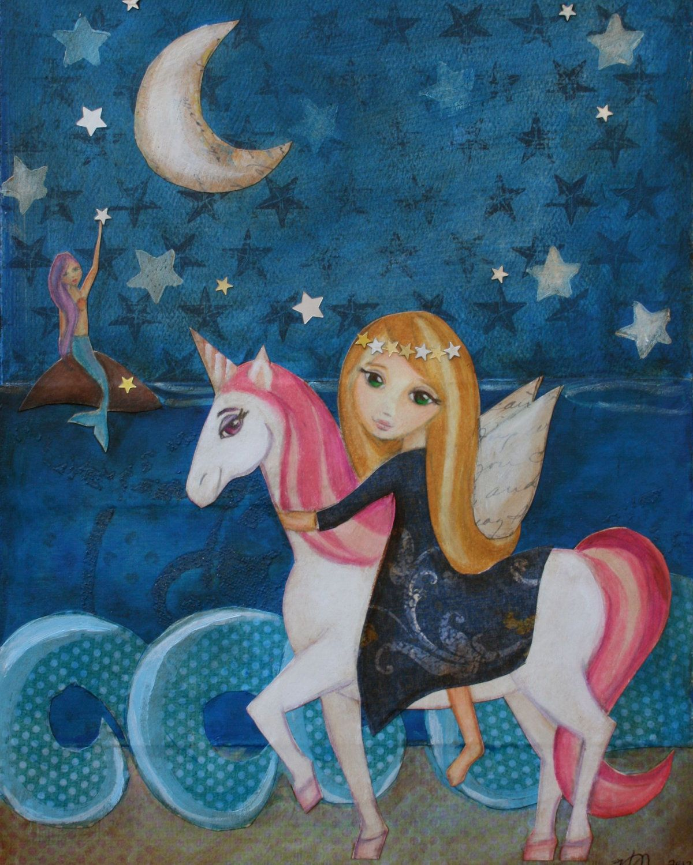 Unicorn and Mermaid Art Print Mixed Media Art for Children Kids Wall