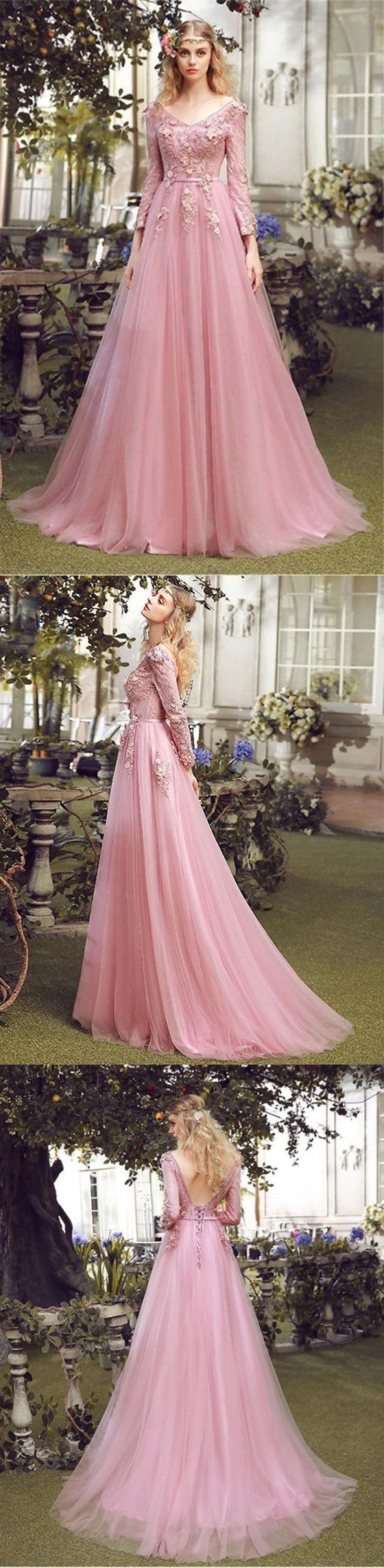 Floor-length A-line V-neck long sleeve evening dress, Pink lace ...