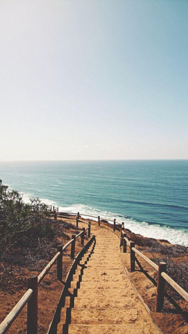 Beach Shore Stairs Path Iphone 5 Wallpaper Beach Wallpaper