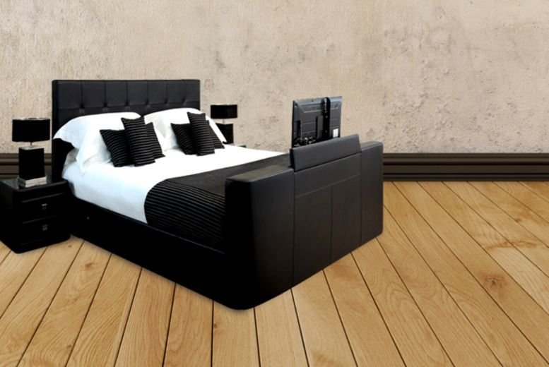 instead of (From Fishoom) for a king size faux leather TV bed frame with ottoman  storage - save + DELIVERY INCLUDED! - Luxury King Size TV Bed & Storage Great Ideas Pinterest Bed