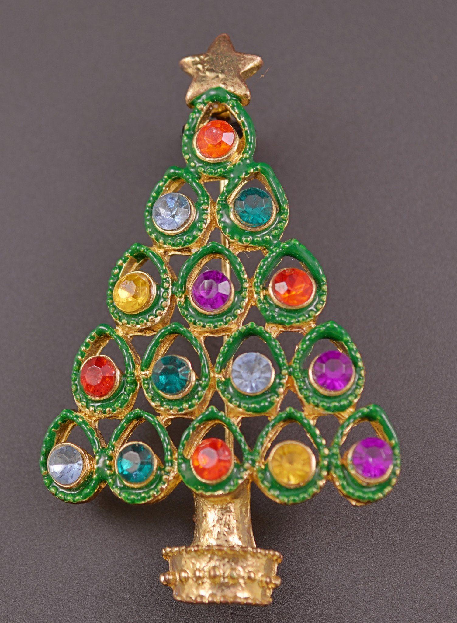 Pin De Mata Perros En X En 2019: Rhinestone Christmas Tree Pin Brooch