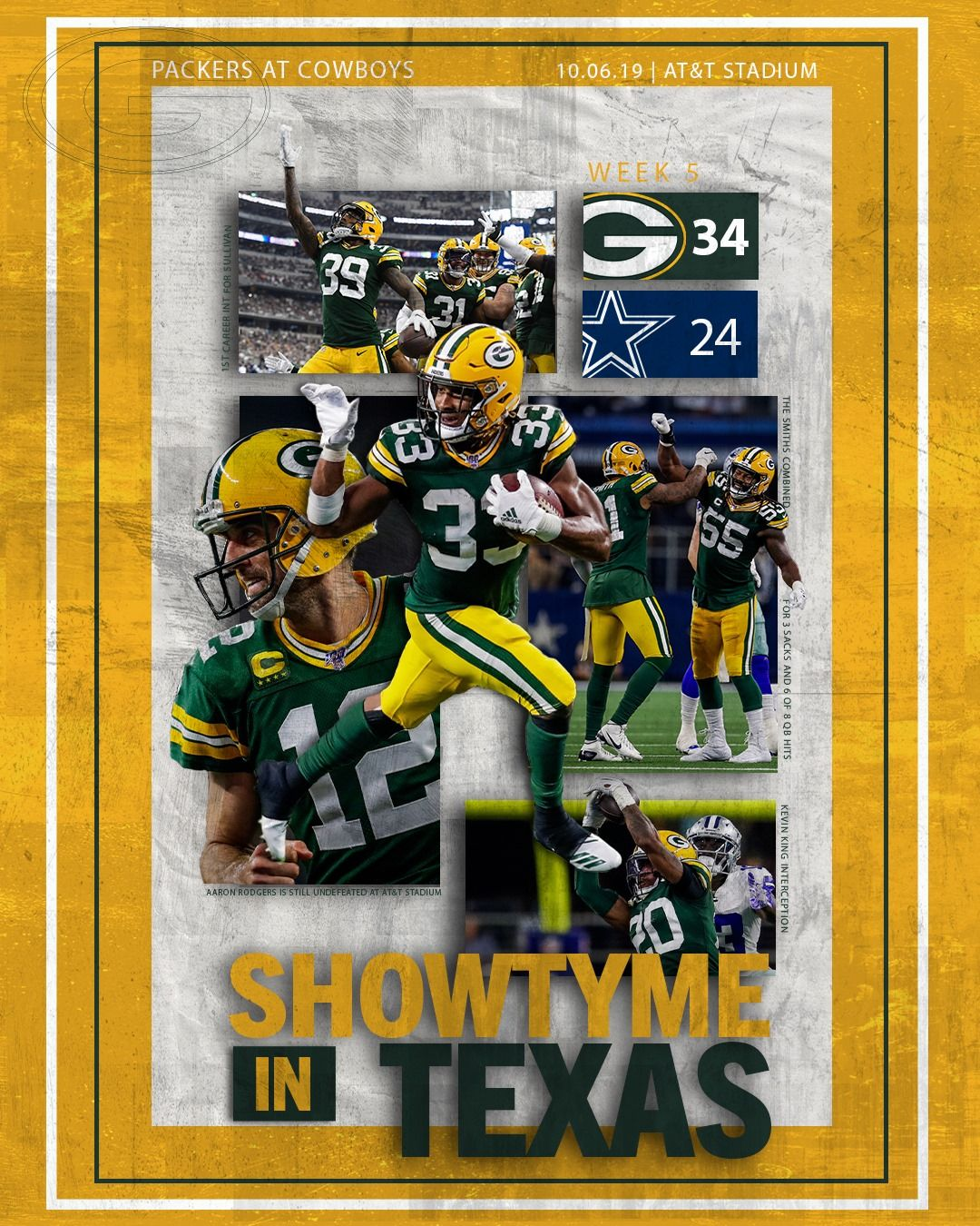 Showtyme In Texas Week 5 Victory Poster Gopackgo Green Bay Packers Green Bay Packers