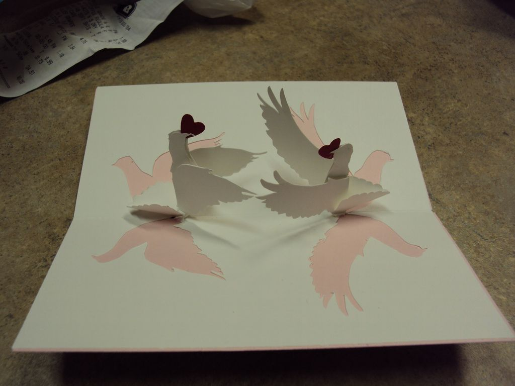 Love Birds Pop Up Wedding Card Inside Bird Red Punch And Diy Cards