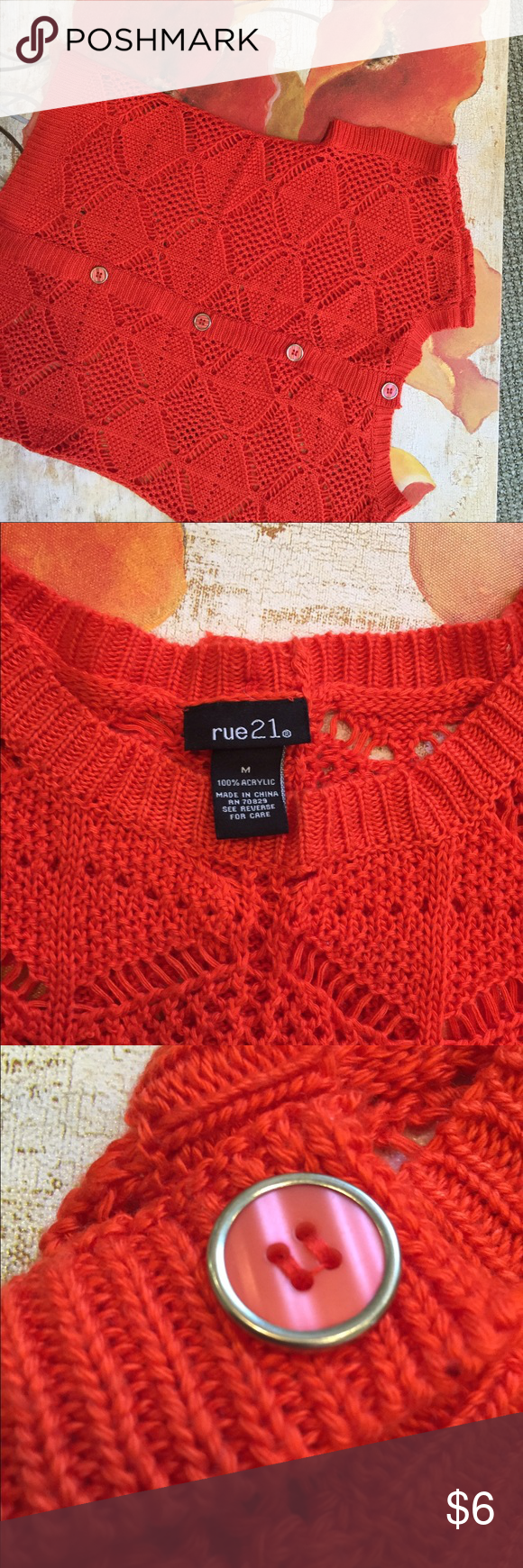 Orange knit sweater. This Orange knit sweater is fun. The gold trimmed buttons go down the back. No flaws or issues.  It's 20 inches from the top is the shoulder to the bottom. Rue 21 Sweaters Crew & Scoop Necks