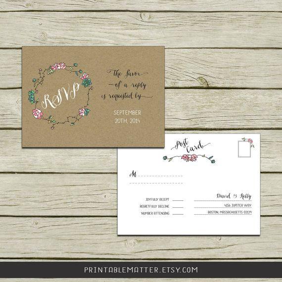 Wedding Rsvp Postcard Front And Back Design 1 3 Kraft