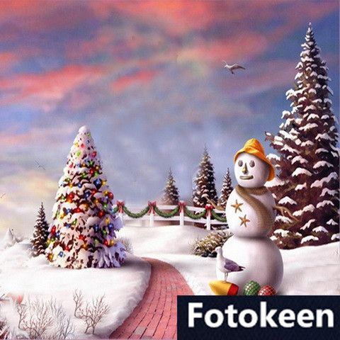 5ft x 7ft hand painted christmas tree snow scenic muslin backdrop photography backdrop fs 46