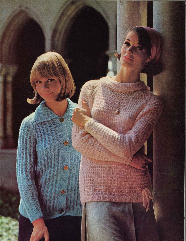 Pink & Blue • 1960s Cardigan Sweater Patterns • 60s Vintage Knitting ...