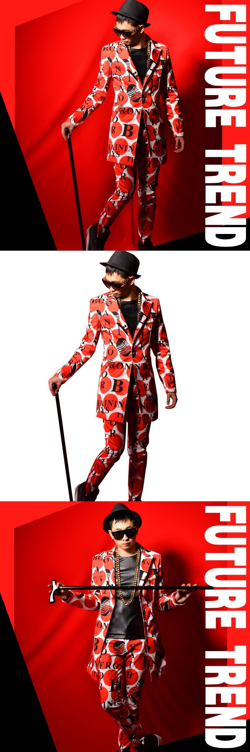 Custom Stage Costumes Male Fashion Red Dot Letter Printing Casual