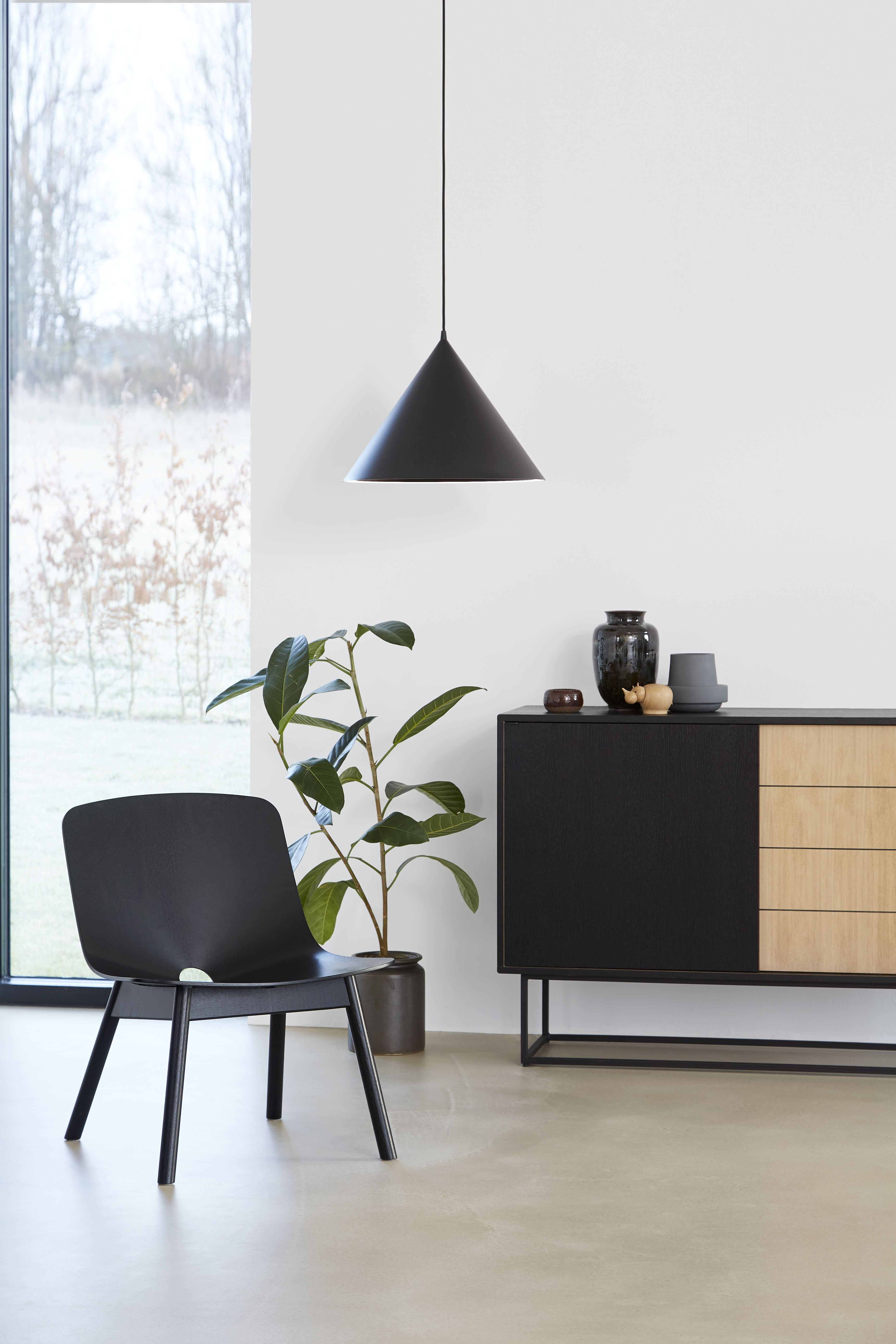 WOUD Mono lounge chair Virka sideboard and Annular pendant