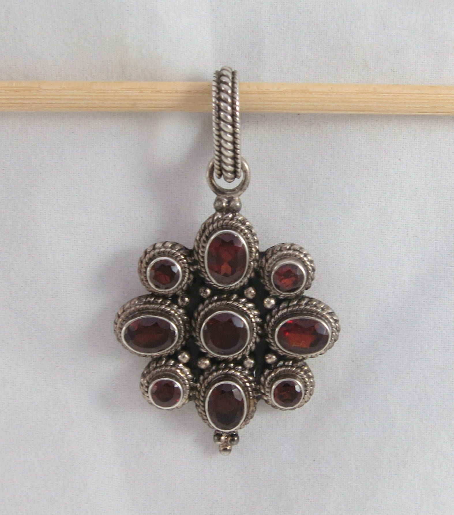 Made in india large garnet silver sterling floral pendant aloadofball Images
