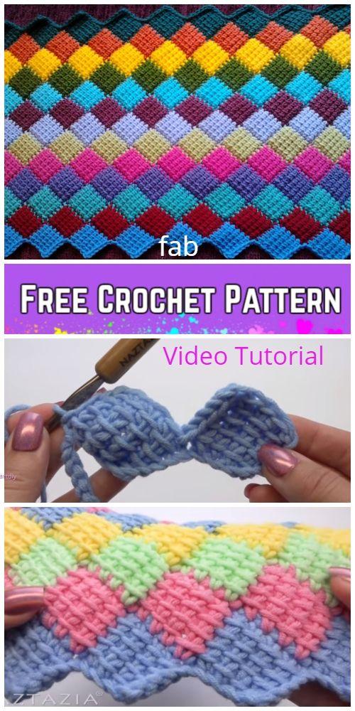 Tunisian Crochet Entrelac Diamond Blanket Free Crochet Pattern