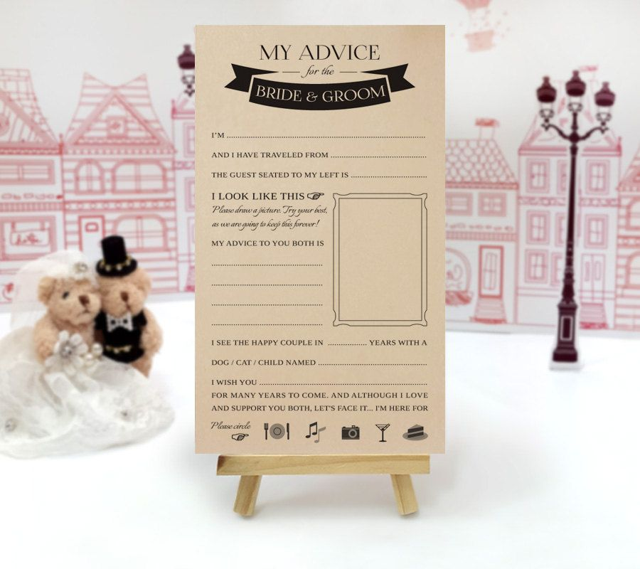 Wedding advice cards funny | Advice for the bride and groom cards ...