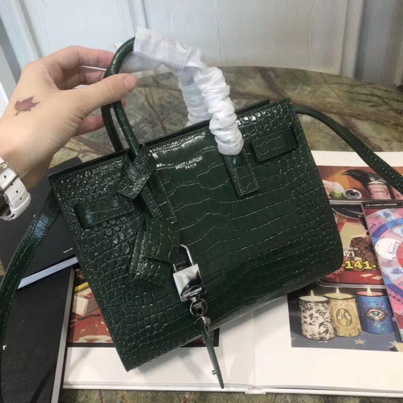af8219d81a Saint Laurent 340778 Classic Nano Sac De Jour Bag in Embossed Crocodile  Shiny Leather Green 2018