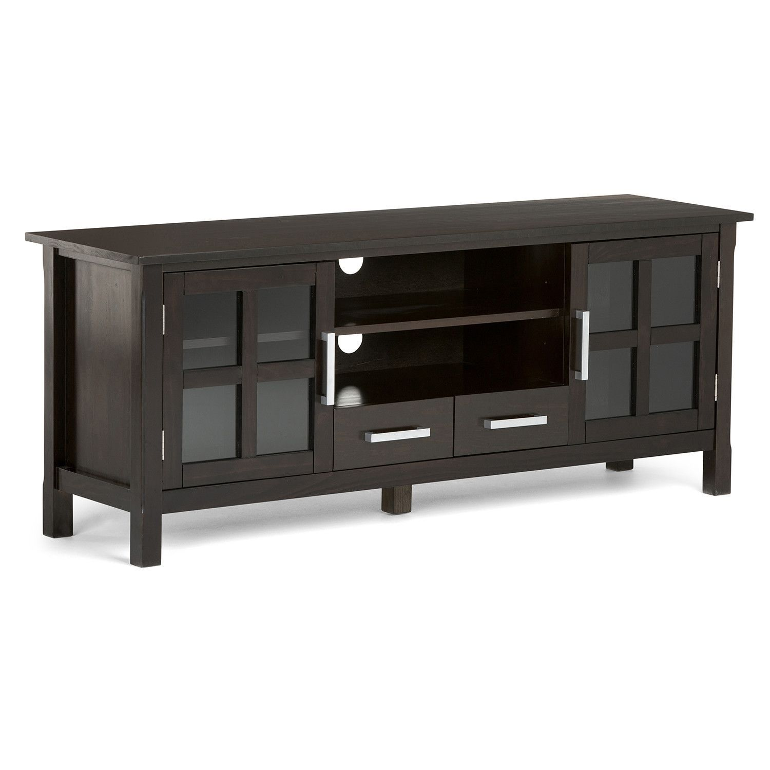 Kitchener 60 x 17 x 24 inch TV Stand in Dark Walnut Brown