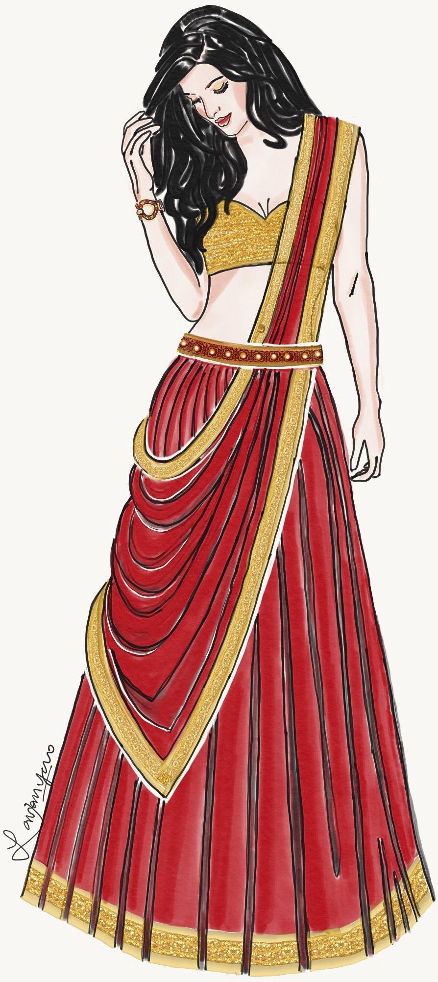 Fashion Illustration India Fashion Lavanya P In 2020 Fashion Illustration Dresses Fashion Illustration Sketches Dresses Fashion Drawing Dresses