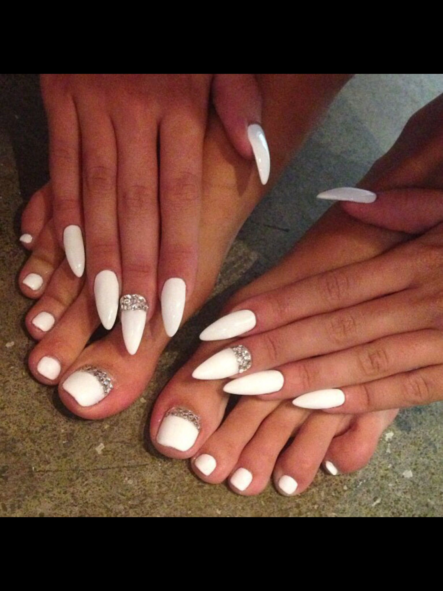 Mani Pedi Stiletto Shape Touch Of Bling