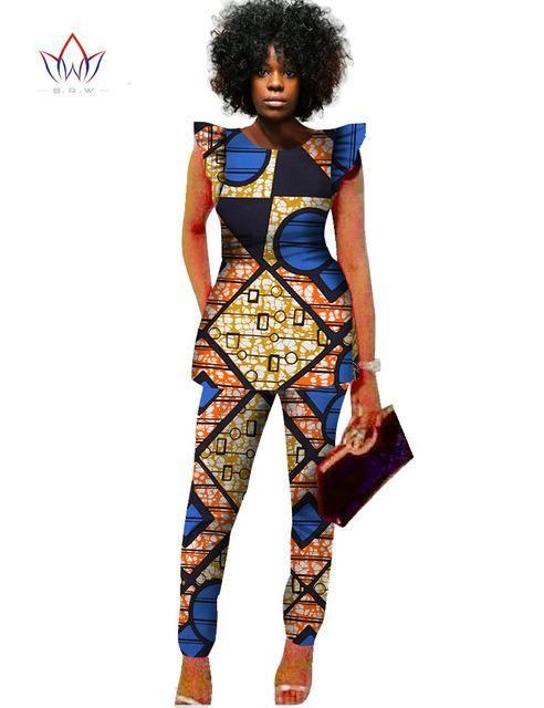 2549f8bde52 2 Piece Women African Print Dashiki Top and Pants Sets Plus Size  M