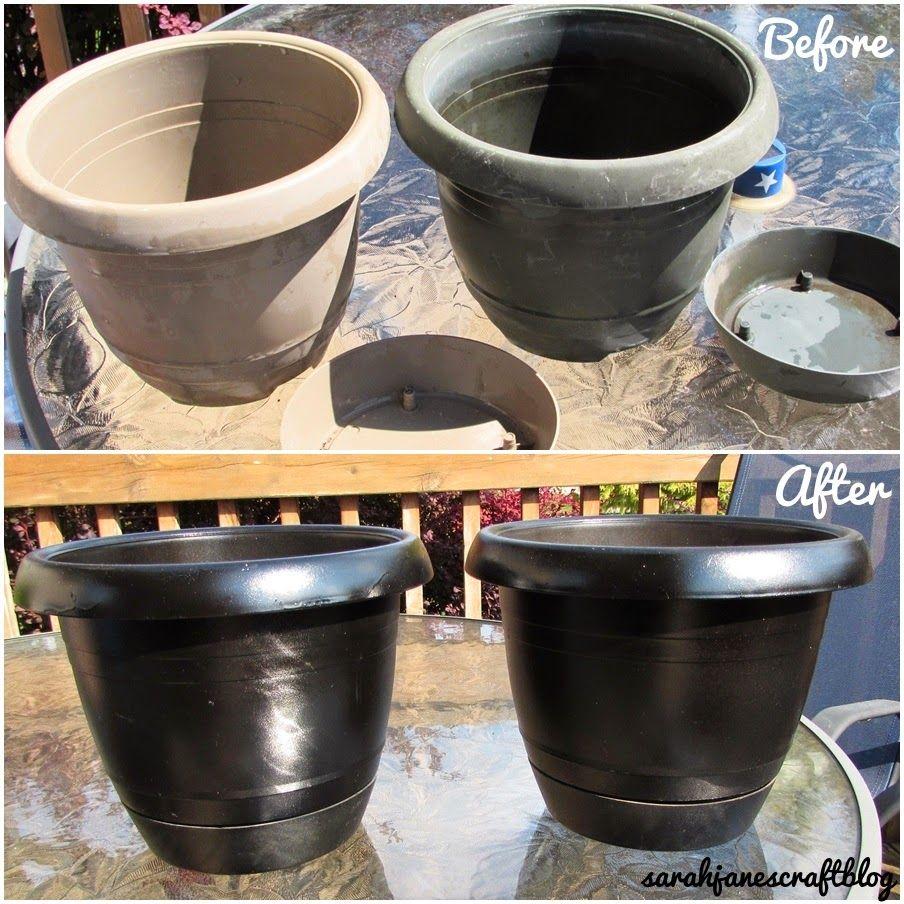 sarah jane's craft blog: spray painted plastic flower pot refresh