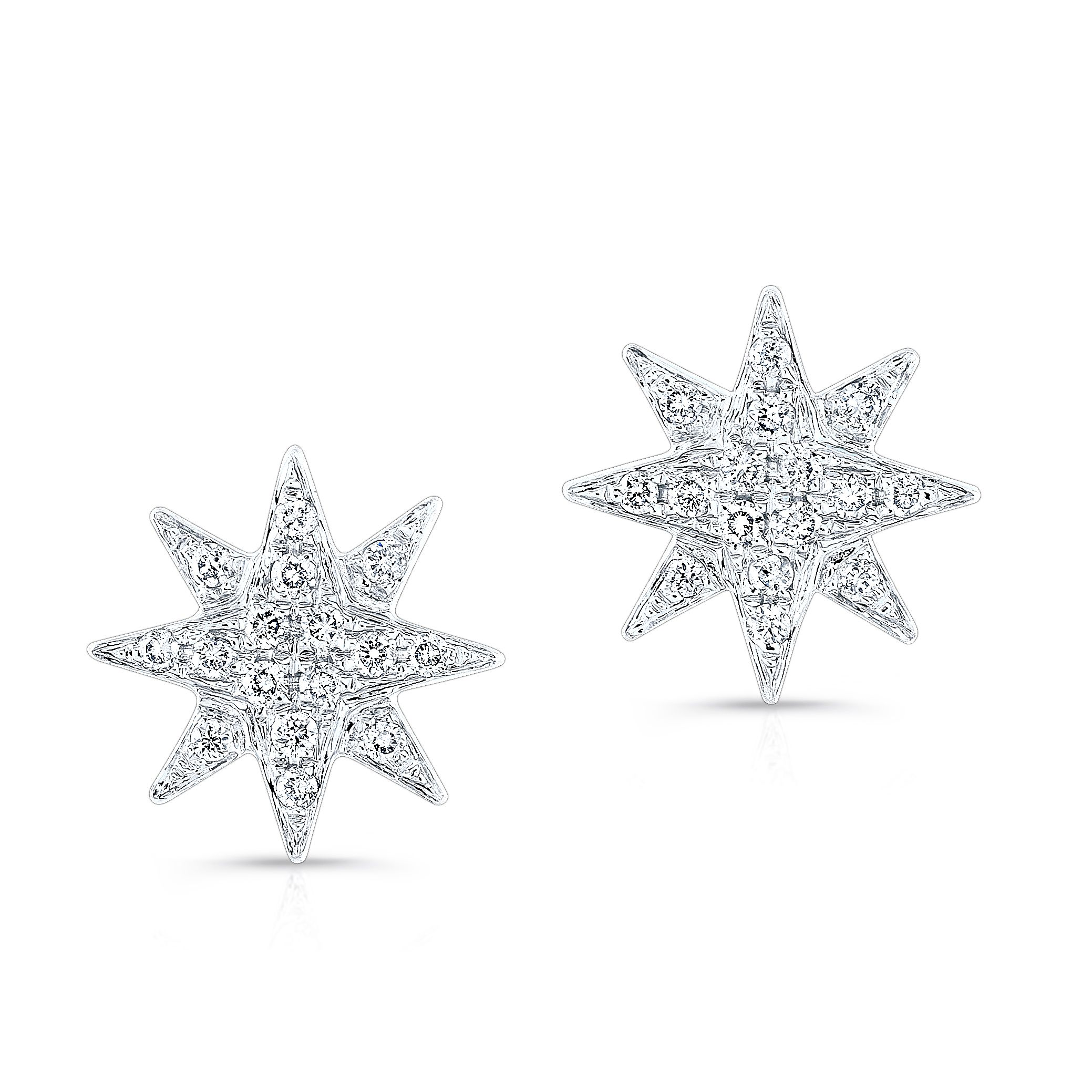 white gold diamond starburst stud