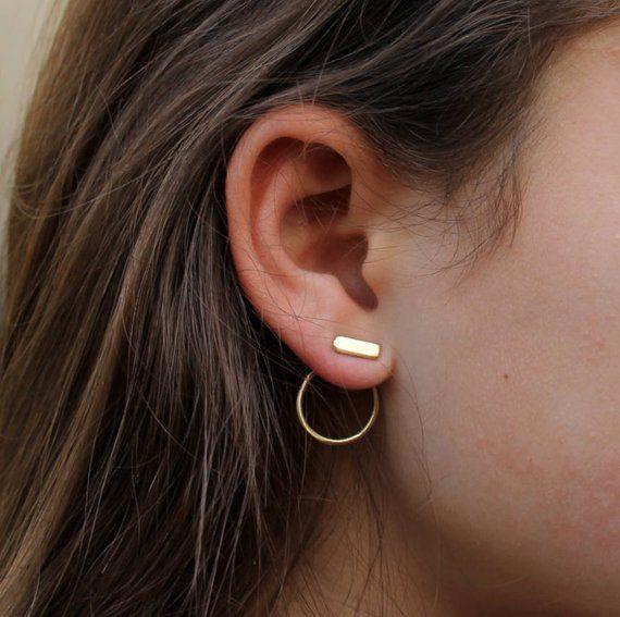 16e1f16147323 Gold Ear Jacket Earring Gold Dainty earrings Made in israel jewelry ...