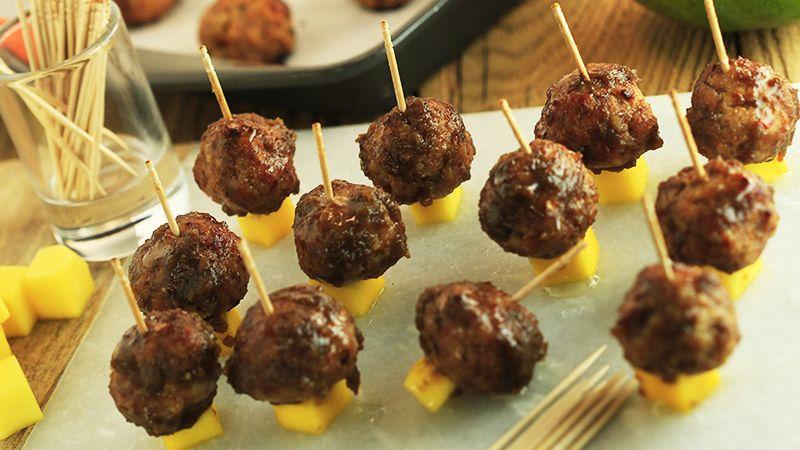clinton kelly s spicy turkey meatballs with sweet mango glaze recipe rachael ray show