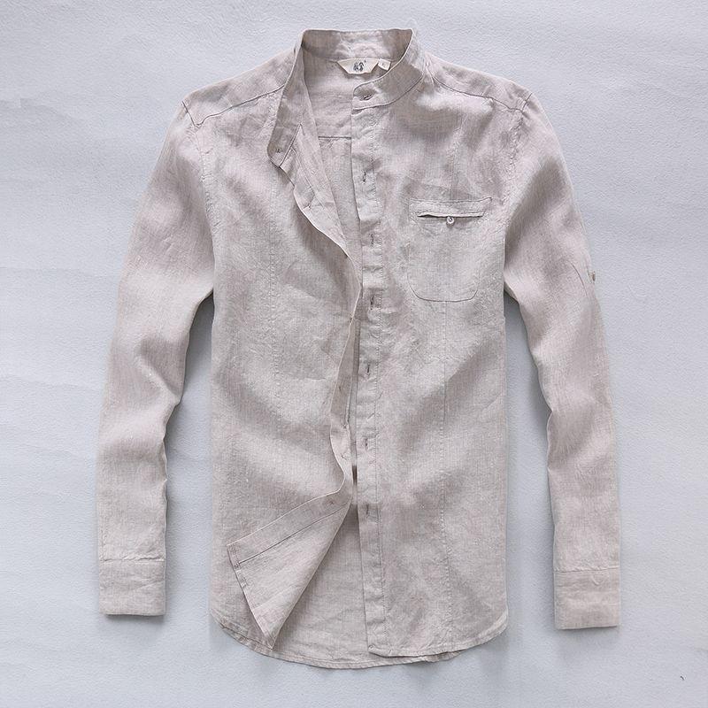 68ce88e7f9 Italy brand pure linen shirts men long sleeve flax men shirt summer spring  fashion shirt men solid breathable men shirts chemise