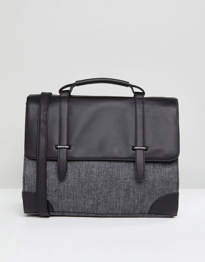 ASOS Satchel In Faux Leather And Contrast Gray Panel. ASOS Satchel In Faux  Leather And Contrast Gray Panel Sac Homme, Besace, Sac Cuir aae29e2958f