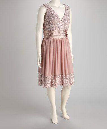 r&m richards blush lace mesh plus-size dress   beautiful, lace and