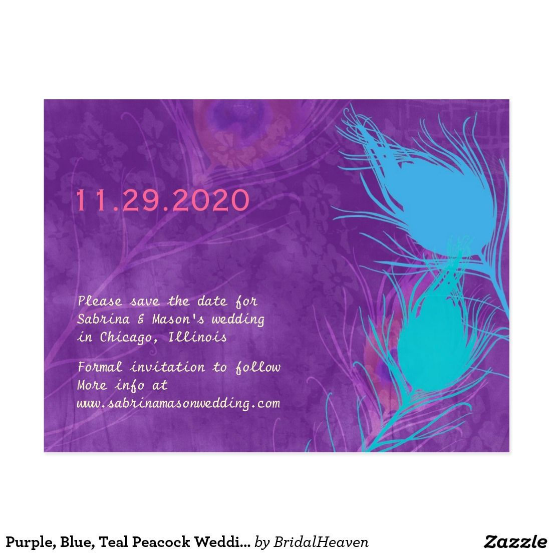 Purple Blue Teal Peacock Wedding Save The Date Postcard Wedding